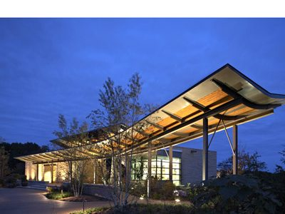 ArchitectureWeek: Overland Partners' design of the Penn State Arboretum Overlook Pavilion featured