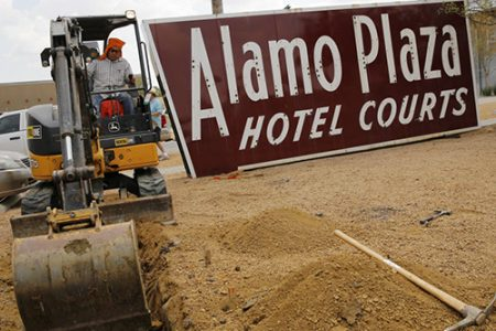 The landmark Alamo Plaza Hotel Courts sign comes home, in pieces, to Sylvan Thirty (Dallas Morning News)